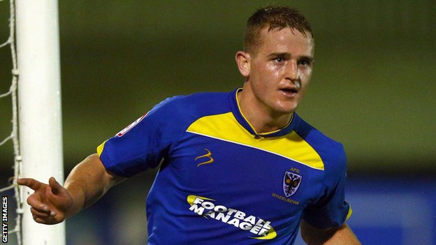 Charlie Strutton in action for AFC Wimbledon