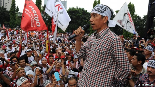 Indonesian presidential candidate Joko Widodo addresses supporters during a campaign rally in Jakarta