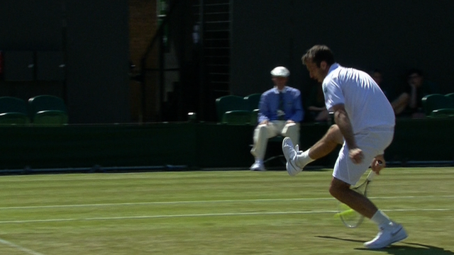 Radek Stepanek pulls of a great shot during the Wimbledon men's doubles semi-finals