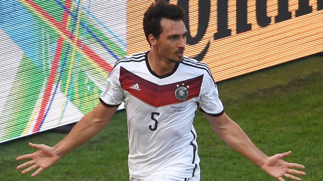 Mats Hummels heads Germany in front against France