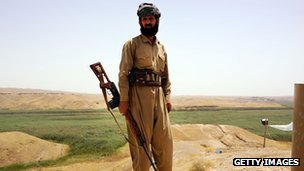 A soldier with the Kurdish peshmerga near Kirkuk