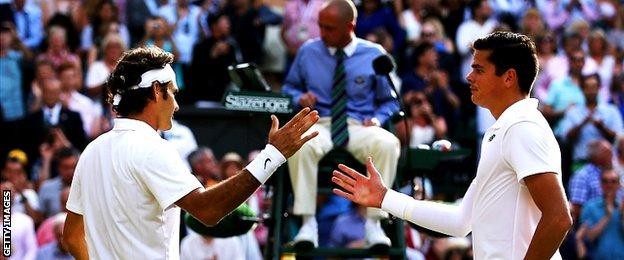 Roger Federer and Milos Raonic