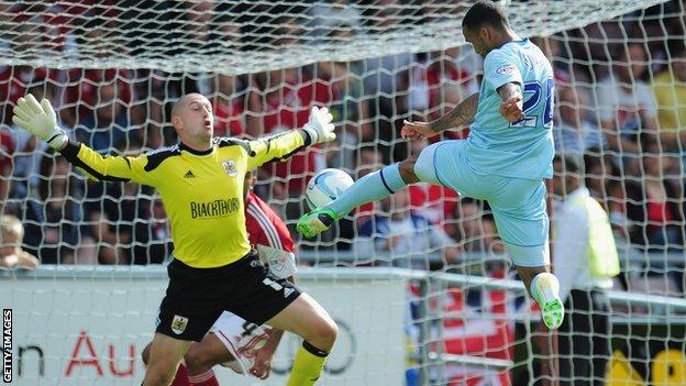Callum Wilson scores against Bristol City