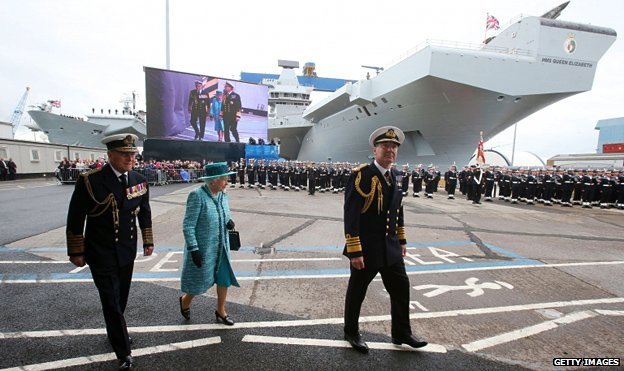 The Queen and Duke of Edinburgh arrive at HMS Queen Elizabeth in Rosyth Dockyard