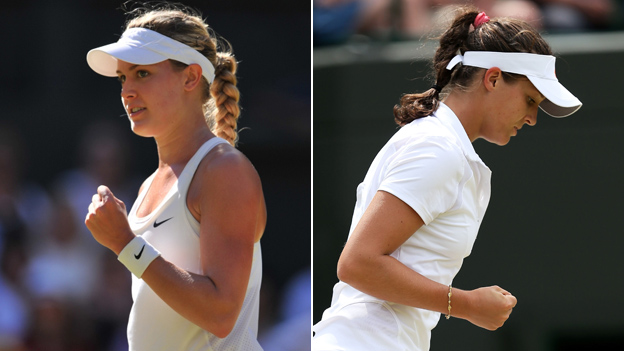 Composite image showing Eugenie Bouchard and Laura Robson