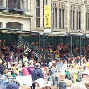 crowds on headrow