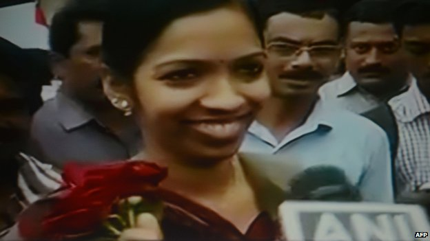 Screen grab of an Indian nurse arriving in India after escaping Iraq (5 July 2014)