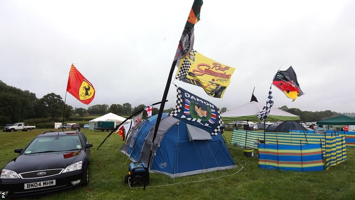 Spectator tents at the British Grand Prix