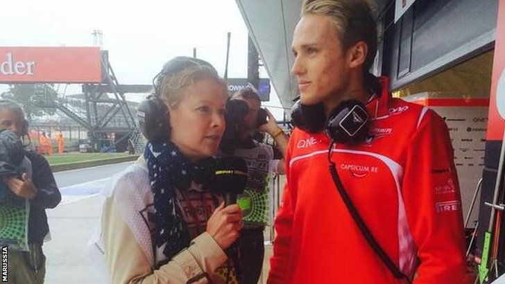 Jennie Gow interviews a disappointed Max Chilton