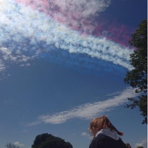 red white and blue smoke
