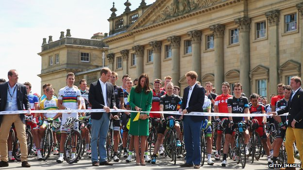 Duke and Duchess of Cambridge and Prince Harry start Tour de France