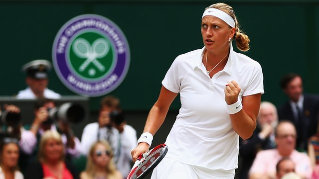 Number six seed Petra Kvitova on her way to winning her second Wimbledon singles title