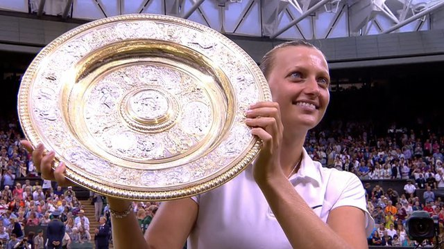 Petra Kvitova celebrates winning her second singles title at Wimbledon