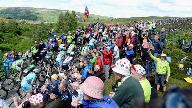 Tour de France riders on Grinton Moor