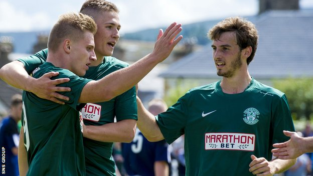 Hibs were 4-0 winners in Saturday's friendly with Vale of Leithen
