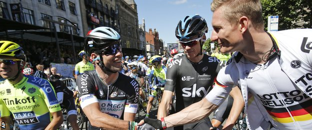 Mark Cavendish Chris Froome Alberto Contador Andre Griepel at the start in Leeds