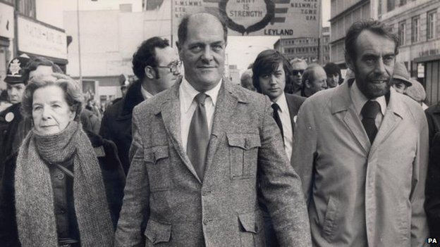Sacked Leyland convenor Derek Robinson leads a protest march alongside Labour MP for Nuneaton, Leslie Huckfield