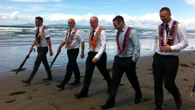 Orangemen on the beach in Rossnowlagh