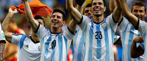 Argentina players celebrate defeating Belgium 1-0 in the World Cup quarter-finals