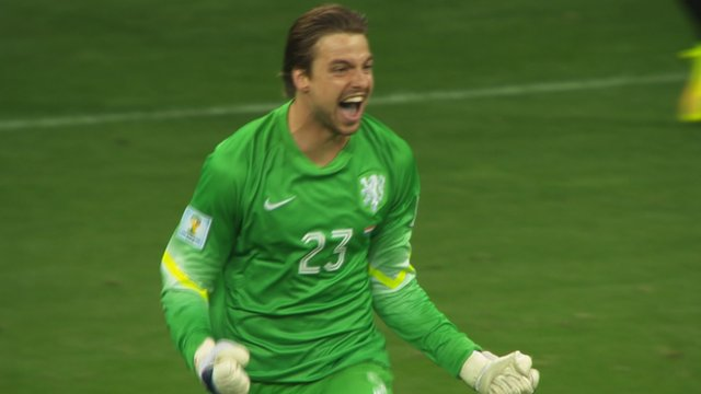 Substitute goalkeeper Tim Krul celebrates