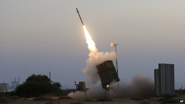 Israeli air defence system intercepts rocket from Gaza Strip. 5 July 2014