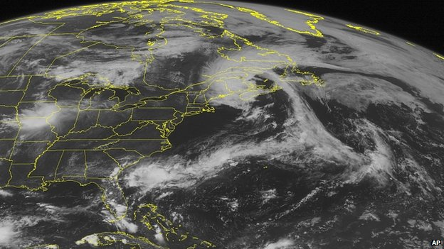 Satellite image shows storm Arthur over Canadian Maritimes. 5 July 2014
