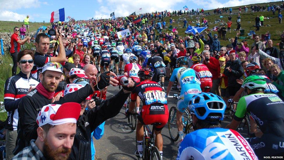 Noel Feather took this image of the Tour de France peloton ascending Grinton Moor.