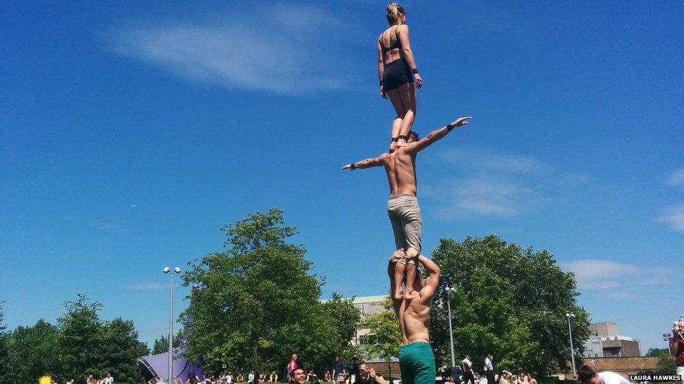 Acrobats practice in a London park