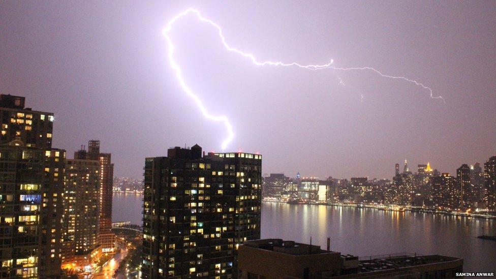 Hurricane Arthur lightening in New York