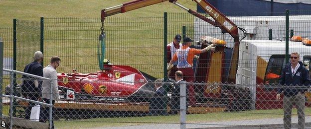 Kimi Raikkonen's wrecked Ferrari