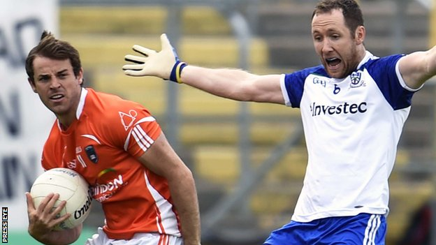 Armagh's Kevin Dyas in action against Dick Clerkin of Monaghan