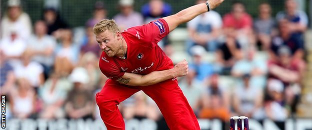 Andrew Flintoff in action for Lancashire