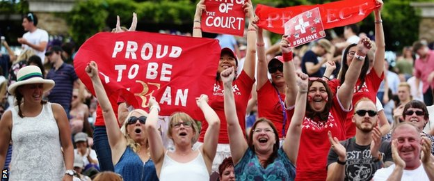 Roger Federer fans during the game