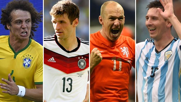 David Luiz, Thomas Mueller, Arjen Robben and Lionel Messi