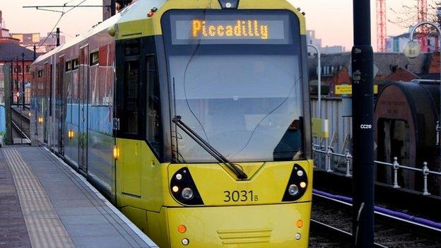 Metrolink tram in Manchester