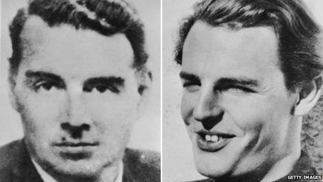 Cambridge Five spy ring members Guy Burgess and Donald Duart Maclean