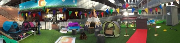 The 'campsite' for Greg James' G in the Park