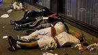 Sleeping revellers in Pamplona (7 July 2014)