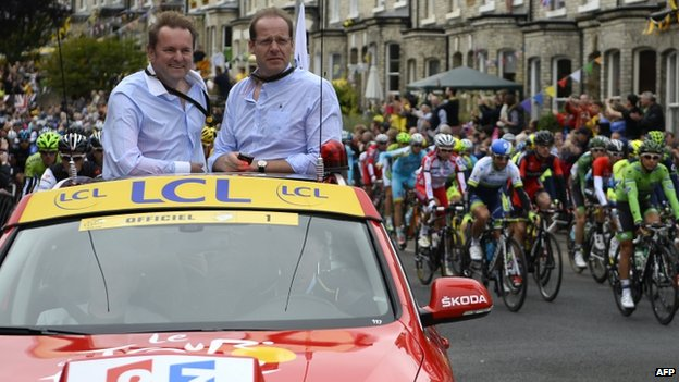 Gary Verity (L) and Christian Prudhomme (R) in York