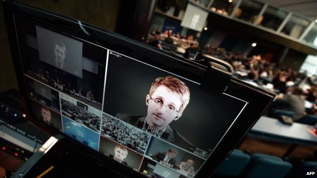 Edward Snowden gives a video conference