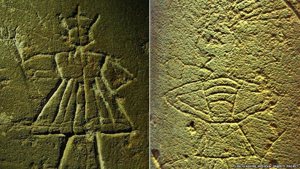 Graffiti figures found in churches in Lincolnshire