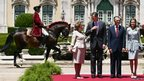 Spain's King Felipe VI (second from left) and Queen Letizia (right) are accompanied by Portugal's President Anibal Cavaco Silva and his wife Maria Cavaco Silva