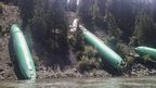 The fuselages of three Boeing 737 aircraft are seen at Clark Fork River