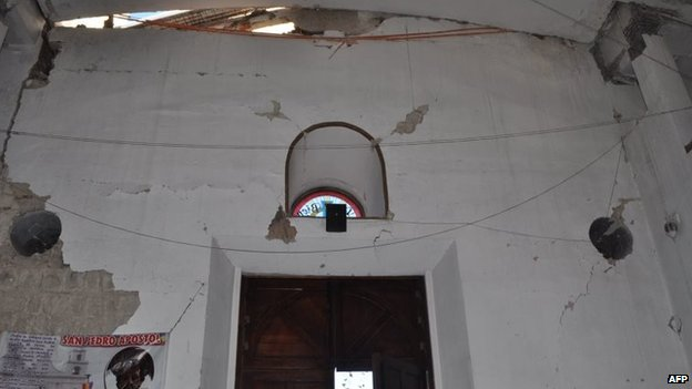 Picture taken at a church in San Marcos showing the damages caused by an earthquake on 7 July, 2014
