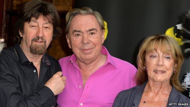 Director Trevor Nunn, composer Andrew Lloyd Webber and choreographer Gillian Lynne pose during a photocall for Cats