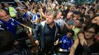 Bosnia head coach Safet Susic and his team arrive back in Sarajevo on 27 June