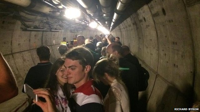 Evacuated Eurotunnel passengers in the tunnel