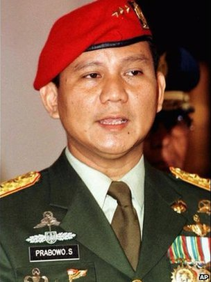 Prabowo Subianto, shown in this February 16, 1998 file photo