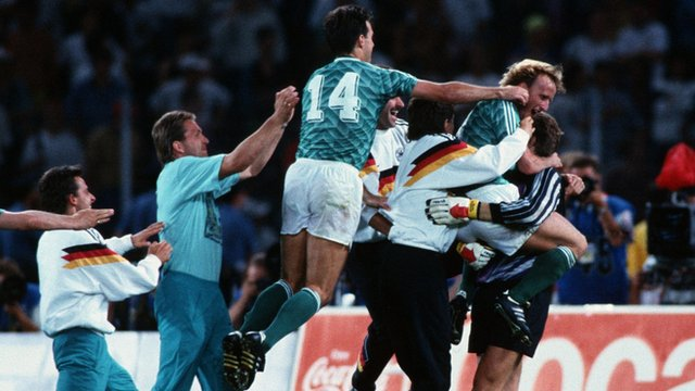 West Germany celebrate beating England on penalties in the 1990 Fifa World Cup semi-final