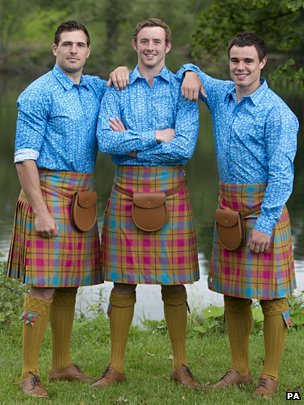 Scotland Rugby 7s Sean Lamont, Scott Wright and Lee Jones pose in the Commonwealth Games kit